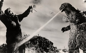 King Kong prepares to hug---er, battle Godzilla in KING KONG vs. GODZILLA (1962)